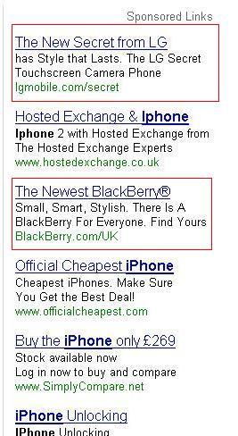LG Secret is the top listing